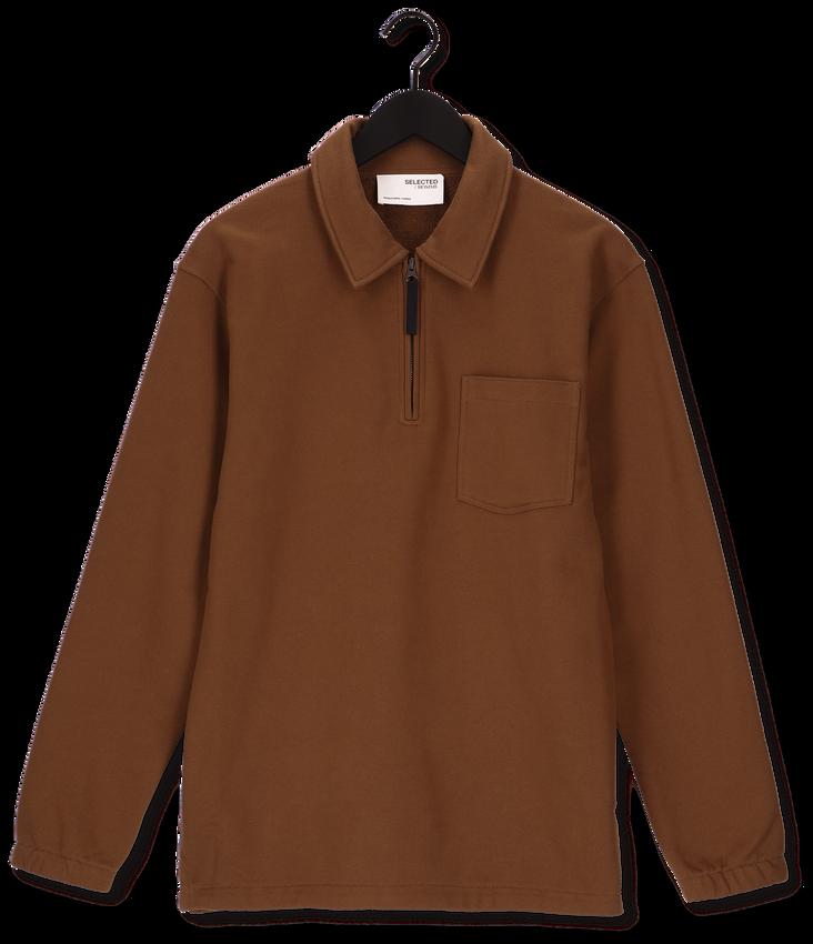 SELECTED HOMME Pull SLHRELAXREID HALF ZIP SWEAT W en marron - larger
