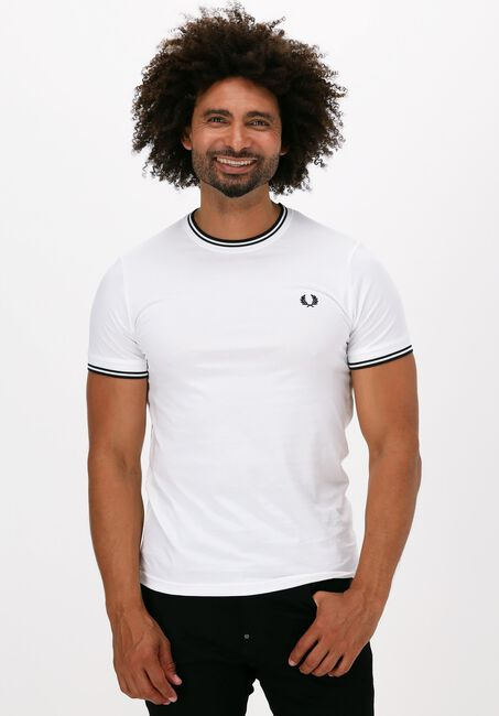 FRED PERRY T-shirt TWIN TIPPED T-SHIRT en blanc  - large