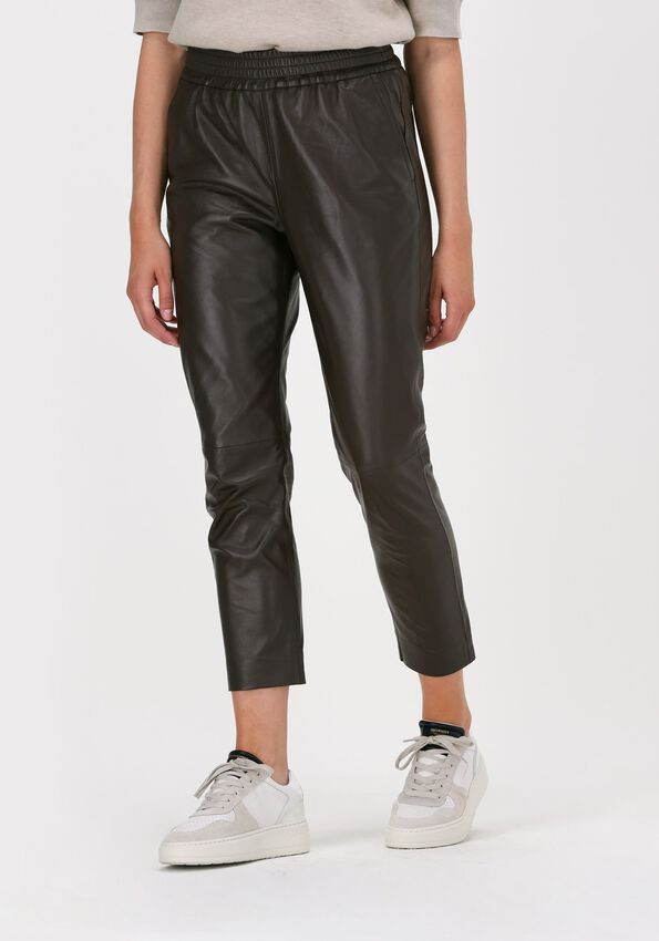 CO'COUTURE Pantalon SHILOH CROP LEATHER PANT en marron  - larger
